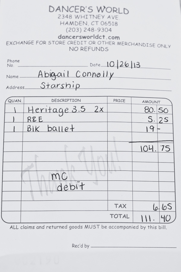 Pointe Shoe Receipt